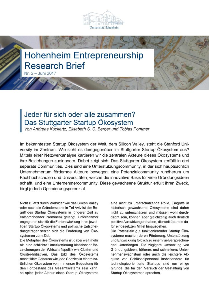 Hohenheim Entrepreneurship Research Brief Nr 2 Juni 2017